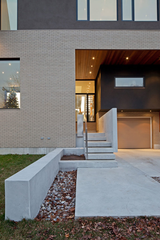 Exterior of house with concrete steps