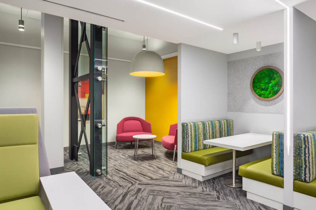 Brightly coloured office space