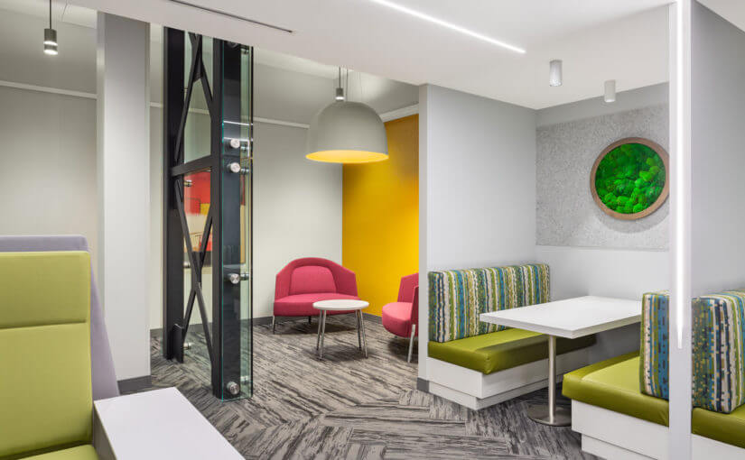 Bold colour blocking and biophilia energize this Ottawa co-working space