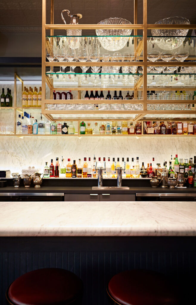 The bar at La Banane with crystal bowls.
