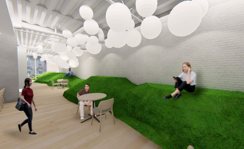rendering of a hangout space with green turf