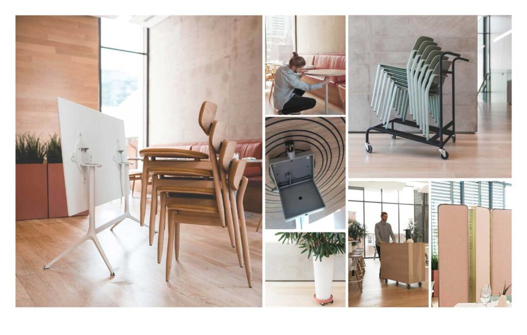 A collage of the chairs and dividers being stacked and folded away at Clay Restaurant.