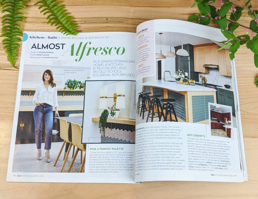 Image of a magazine opened to an interior design spread