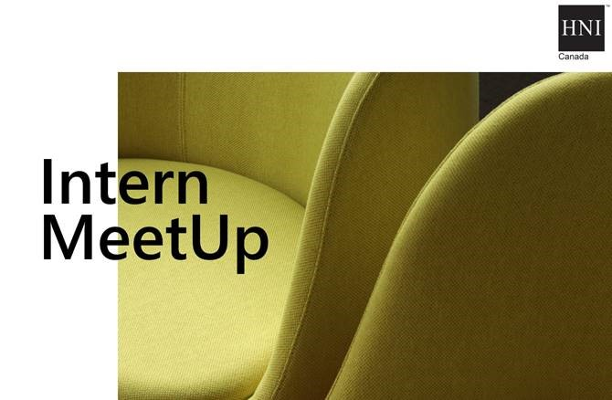 Close up of a chair that reads 'Intern Meetup'