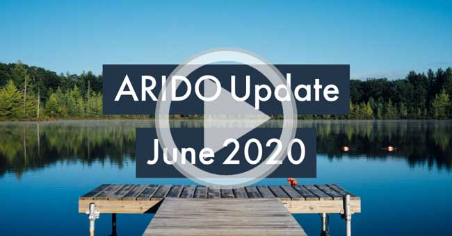 Graphic of a dock that reads 'ARIDO Update April 2020'