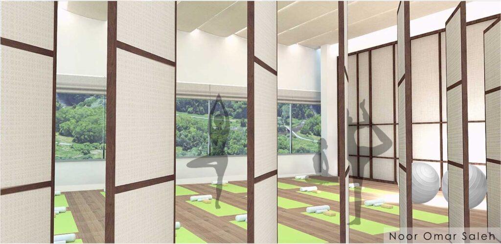 Rendering of a yoga studio
