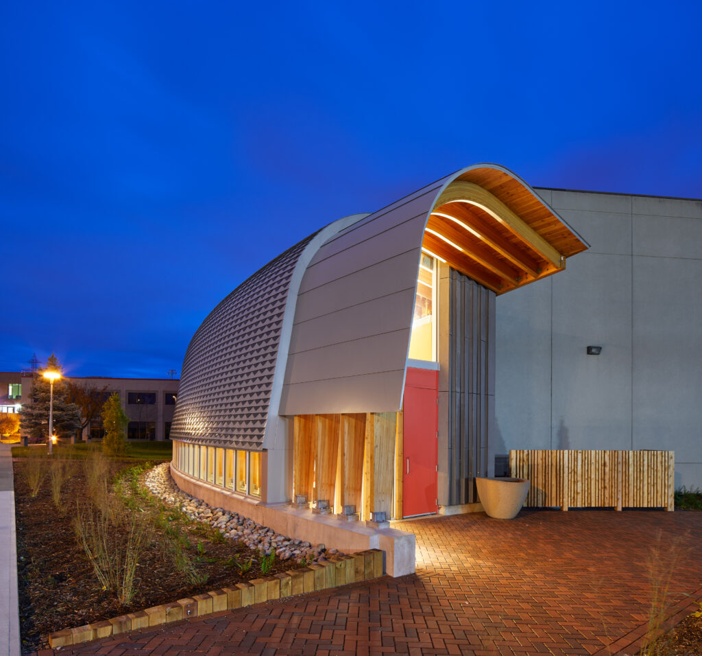 Exterior Night view of Odeyto Indigenous Centre
