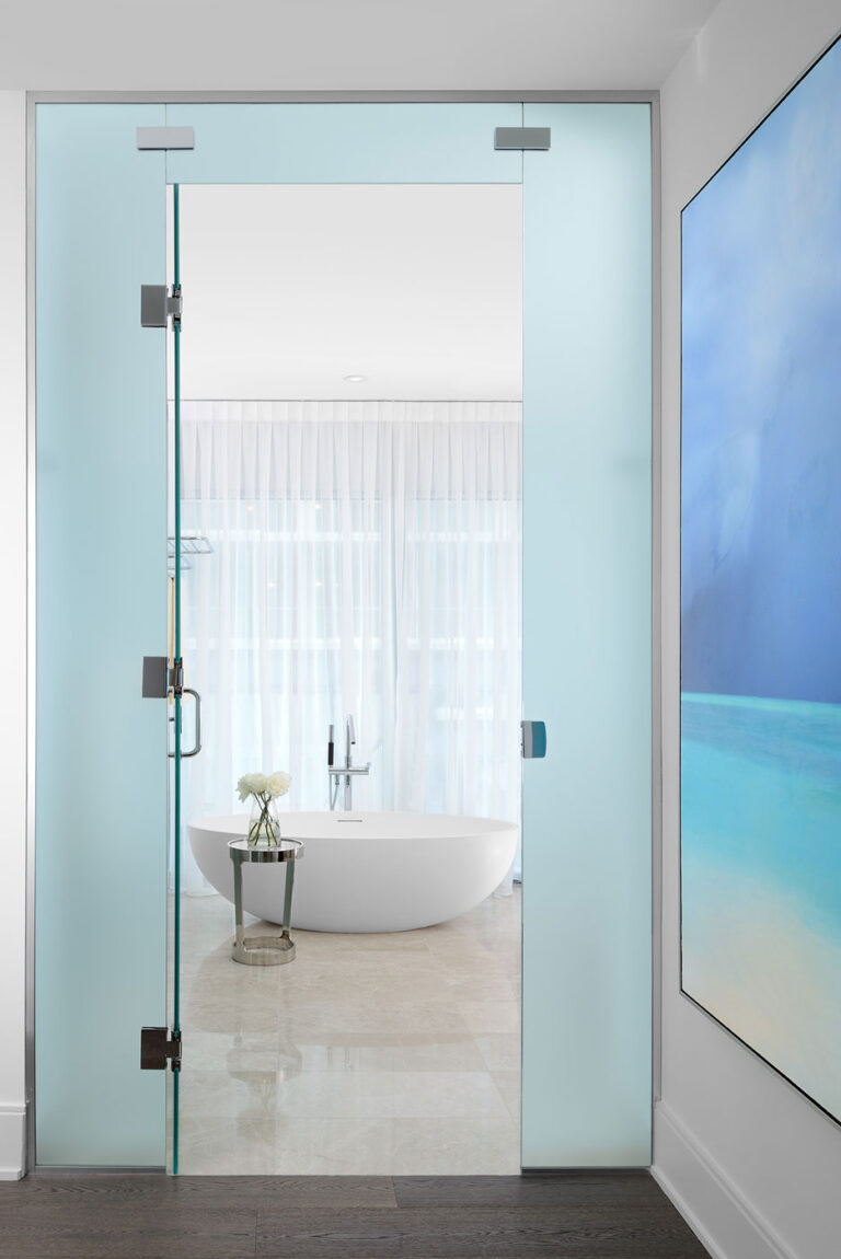 View into a bathroom with a freestanding tub.