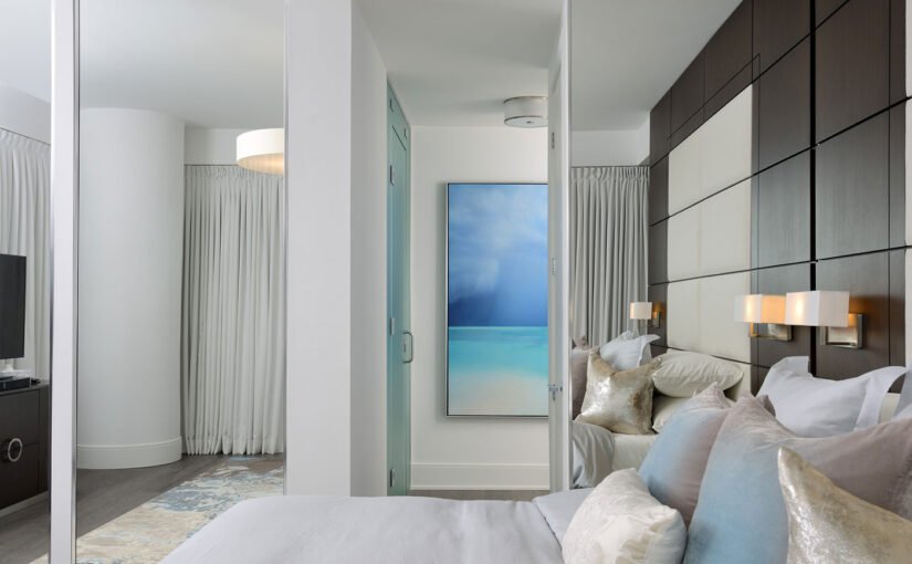 This condo mixes hotel chic with seaside calm