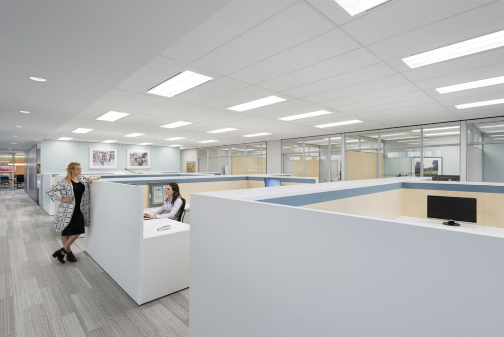 Communal open office cubicle spaces with two employees chatting at one desk.