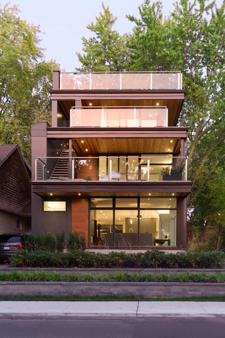 Exterior view of three floor modern home