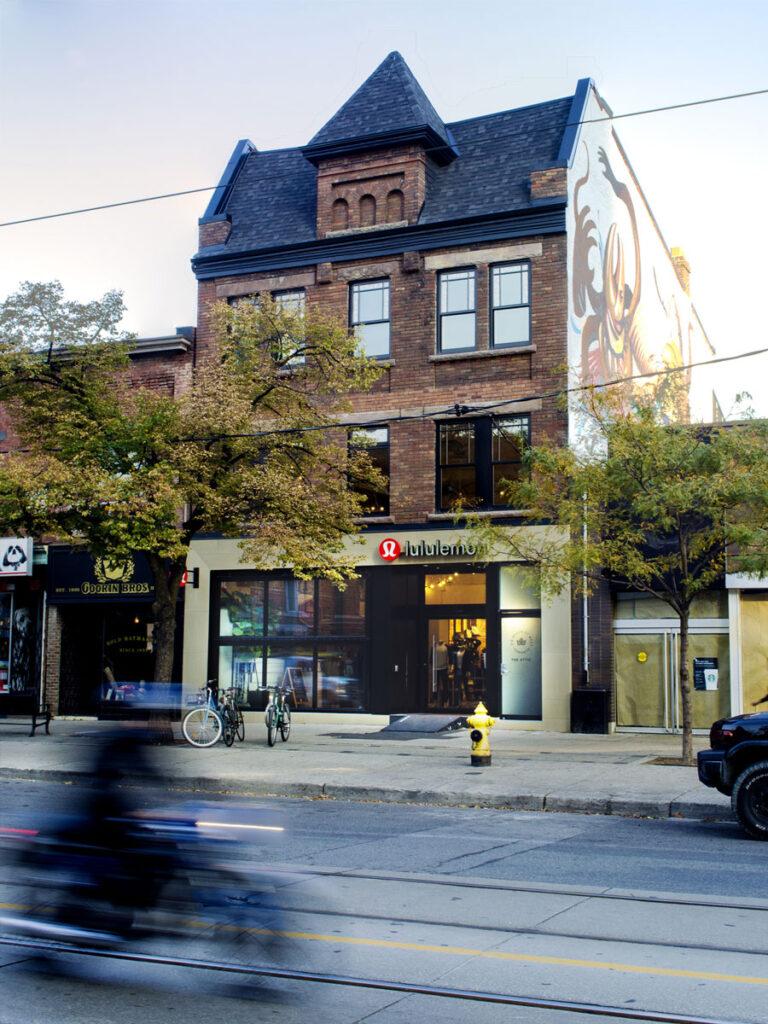 Historic building exterior on Queen Street in Toronto.