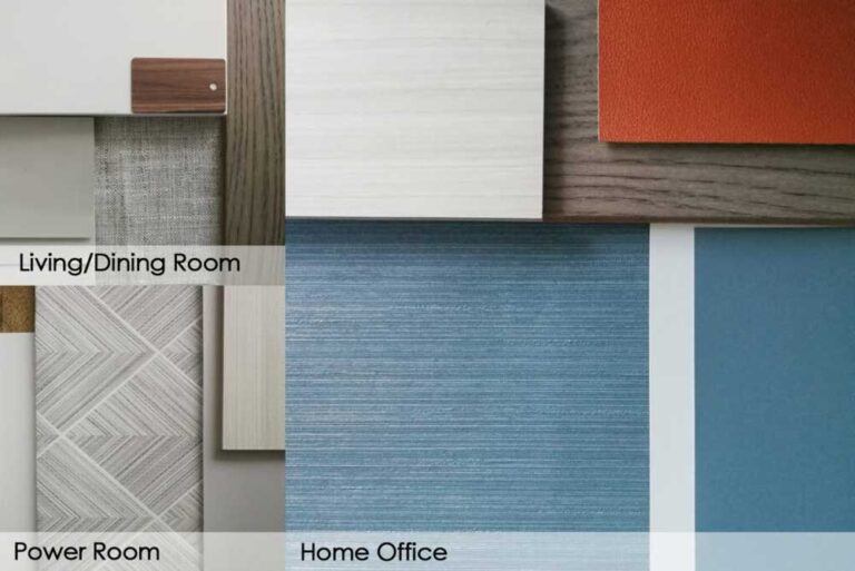 Blue, gray and orange materials pallete for interior design project
