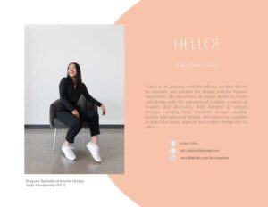 Portrait and introduction page of a portfolio by Nancy Phan