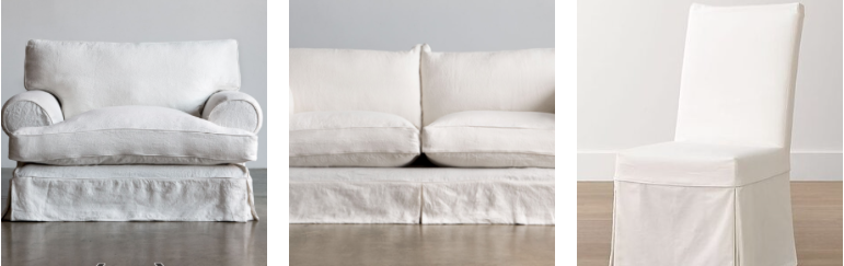 Image of three sofas with cool white slipcovers