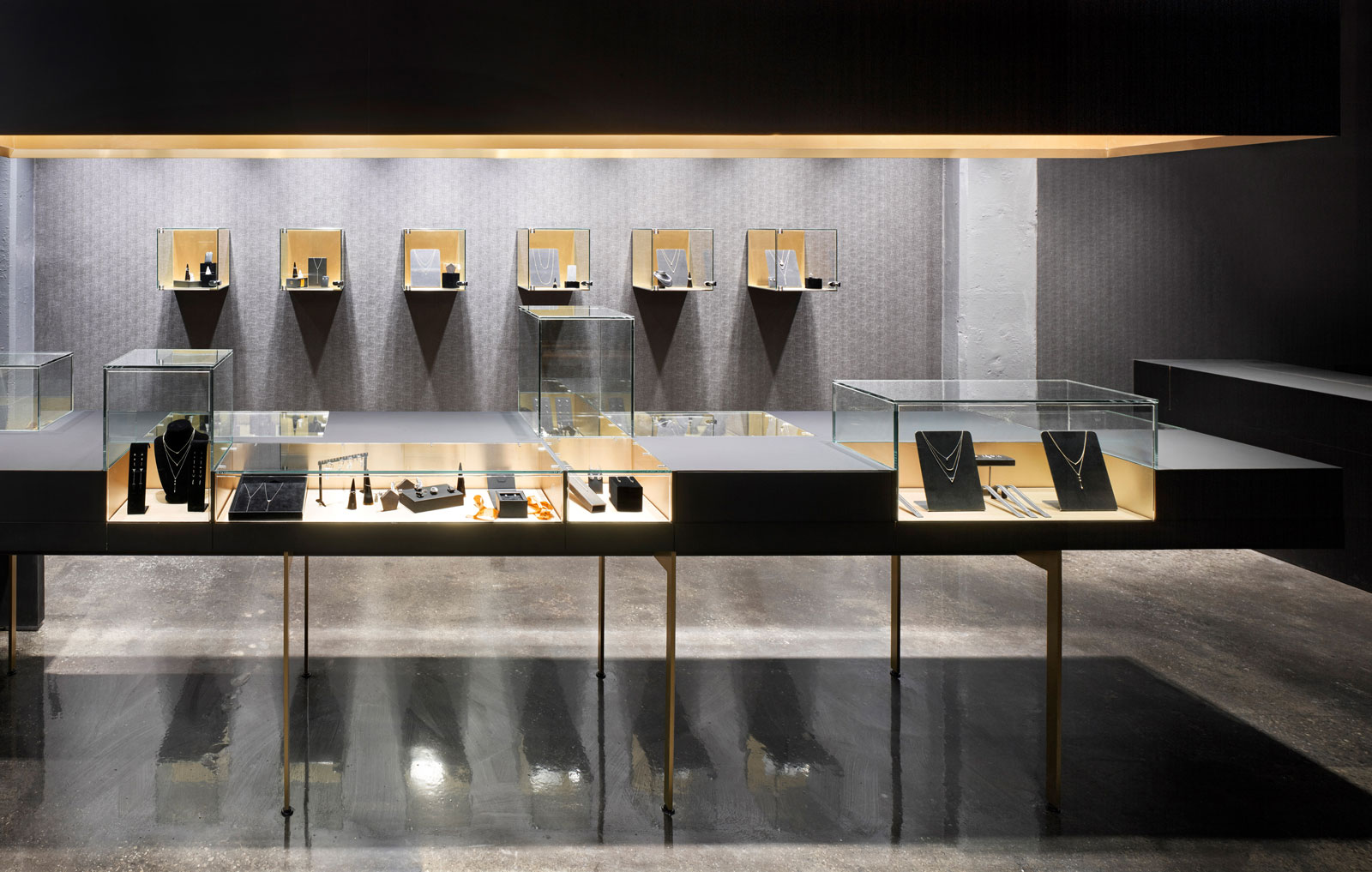 Contrast and luxury are on display in this understated jewellery boutique