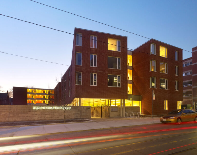Exterior View of Toronto Ronald McDonald House with brick facade.
