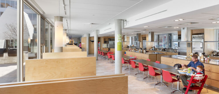 Cafeteria and kitchen space at Ronald McDonald House.