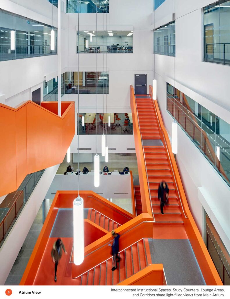 View overlooking orange feature staircase at Sheridan College