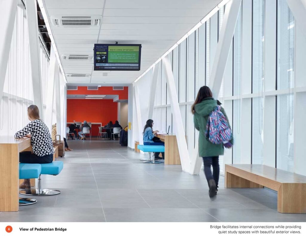 Student walks down a hallway with windows on the right-hand side