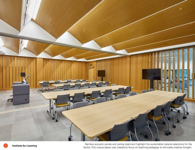 Classroom at Sheridan College wiht wood panelling and slatted wood ceiling