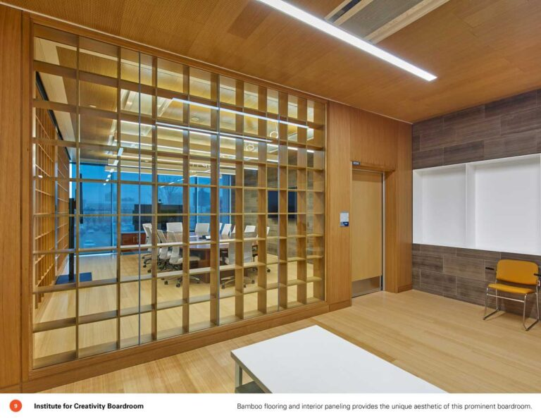 Classroom at Sheridan College with wood panelling on walls and openword wood slats on windows.