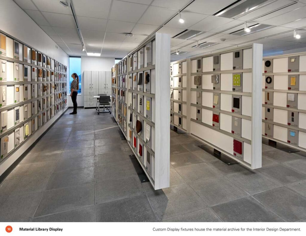 Materials library at Sheridan College Campus with samples on freestanding walls.