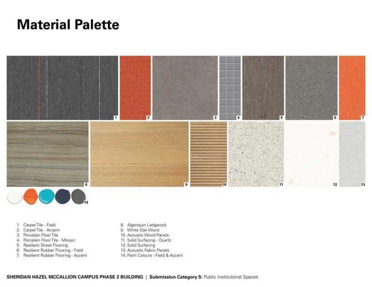 Materials pallete for Sheridan College, grey and neutrals with orange accents