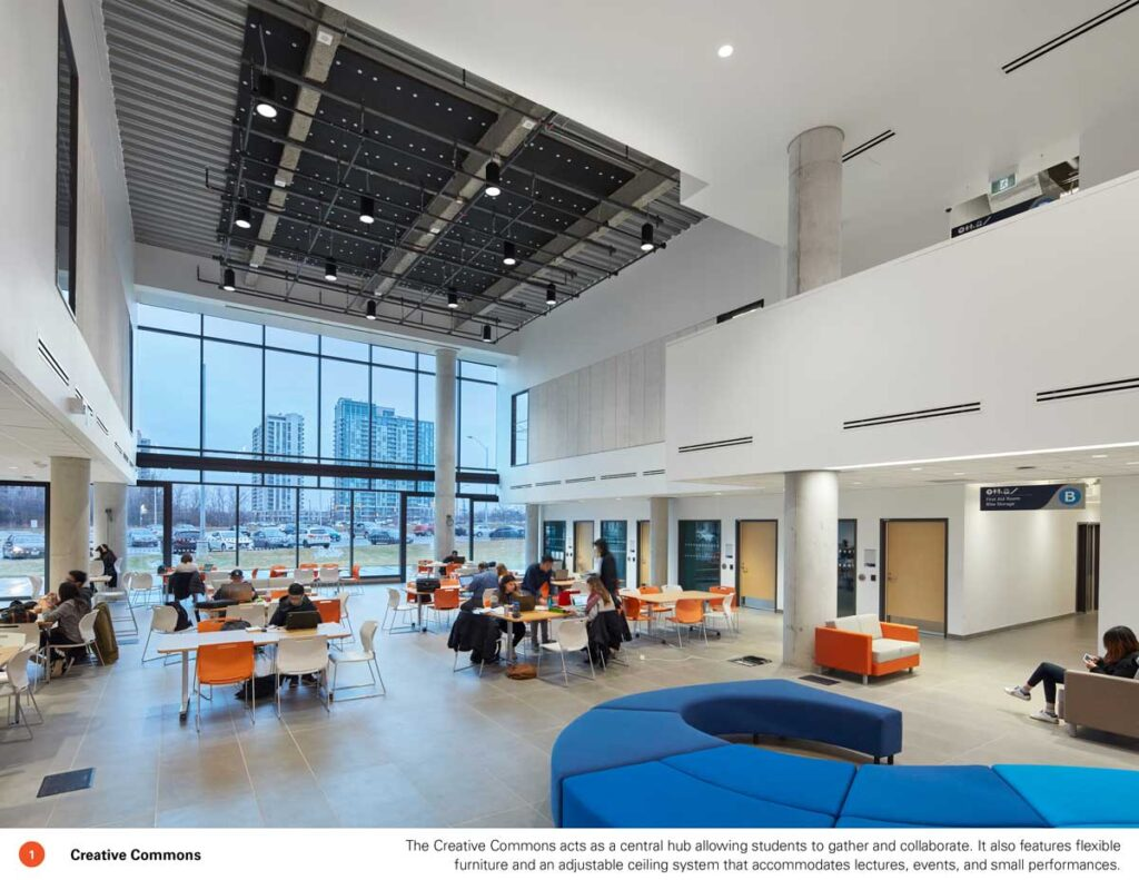 Open community space with seating and tables
