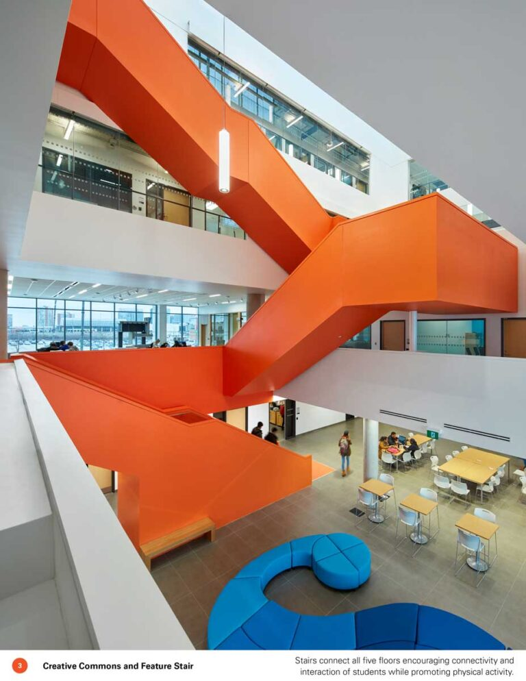 Side view of orange feature staircase at Sheridan College