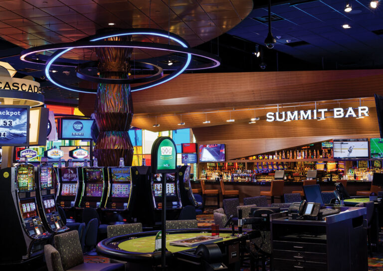 Brightly list casino area with video gambling machines.
