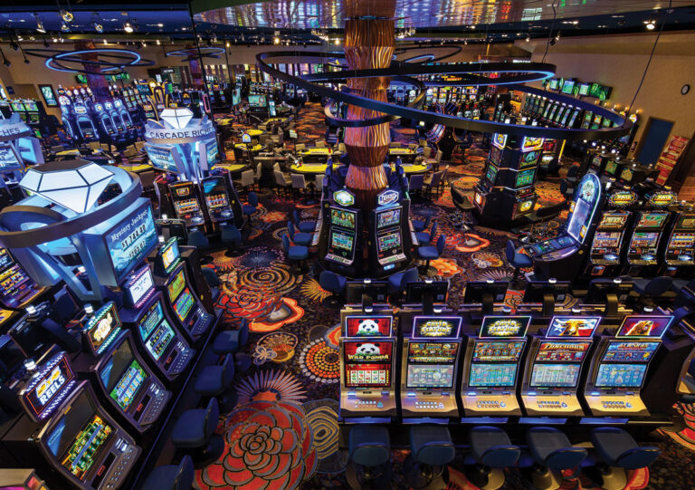 Overhead view of the gaming floor with video gambling machines.