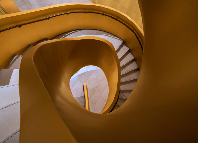 View from top of spiral staircase.