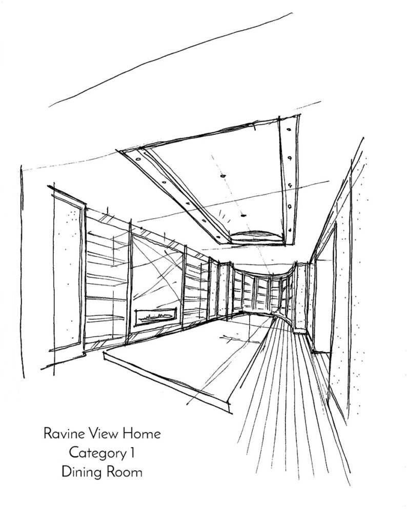 Black and white sketch of dining room area.