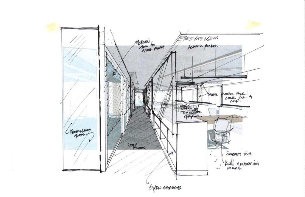 Sketch of office design by Guy Painchaud, ARIDO of iN Studio.