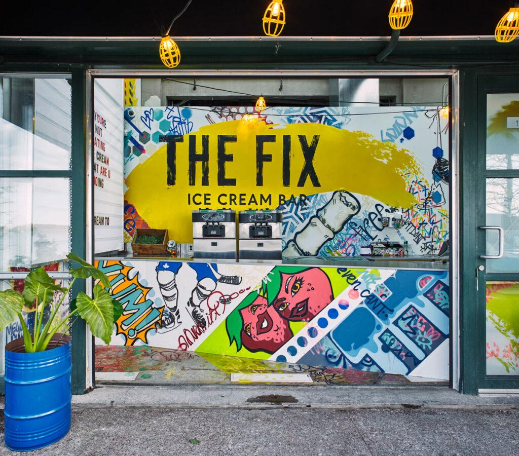 'The Fix' ice cream bar at Joe Bird with handpainted graffitti inspired signage.