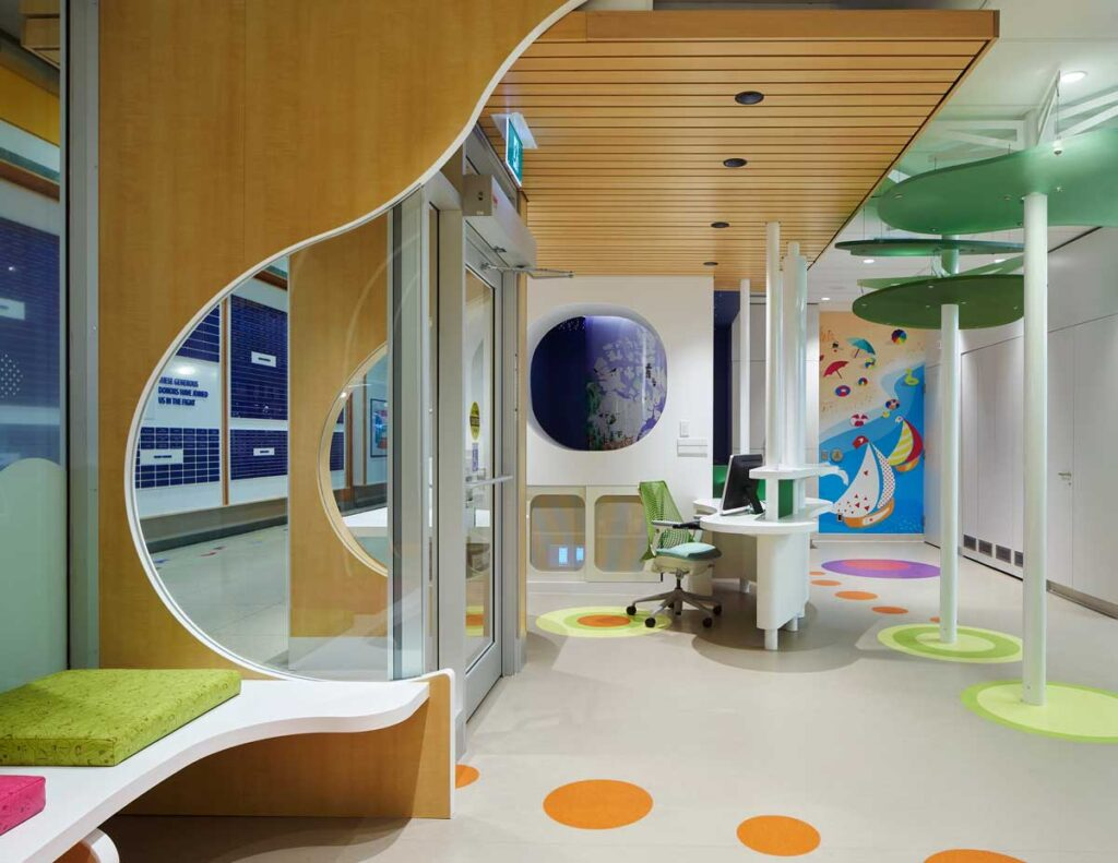 Reception desk and entry at SickKids PlayPark with coloured circles in random organic patterns.