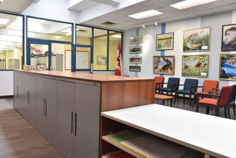 Behind the counter view of school office showing off added storage and long feature wall of artwork.
