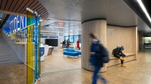 Student Central becomes campus landmark with blue and yellow refresh