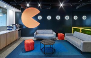 Branded blue and Pac Man imagery take this supply chain start-up's offices to the next level