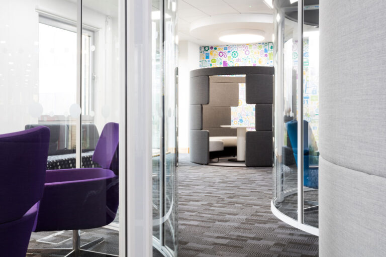 A selection of breakout spaces in the Open text offices, including a sound absorbing meeting room.