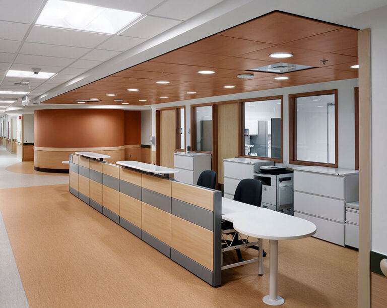Admin and intake area with warm brown and gray flooring and wallcoverings.