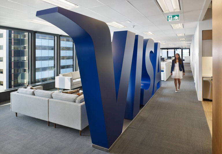 VISA brand element is a life size representation of the company branding.
