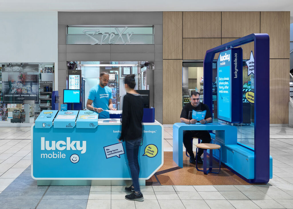 All the elements in the Lucky Mobile retailer are in the shape of a SIM card, a square with one corner folded in an angle.