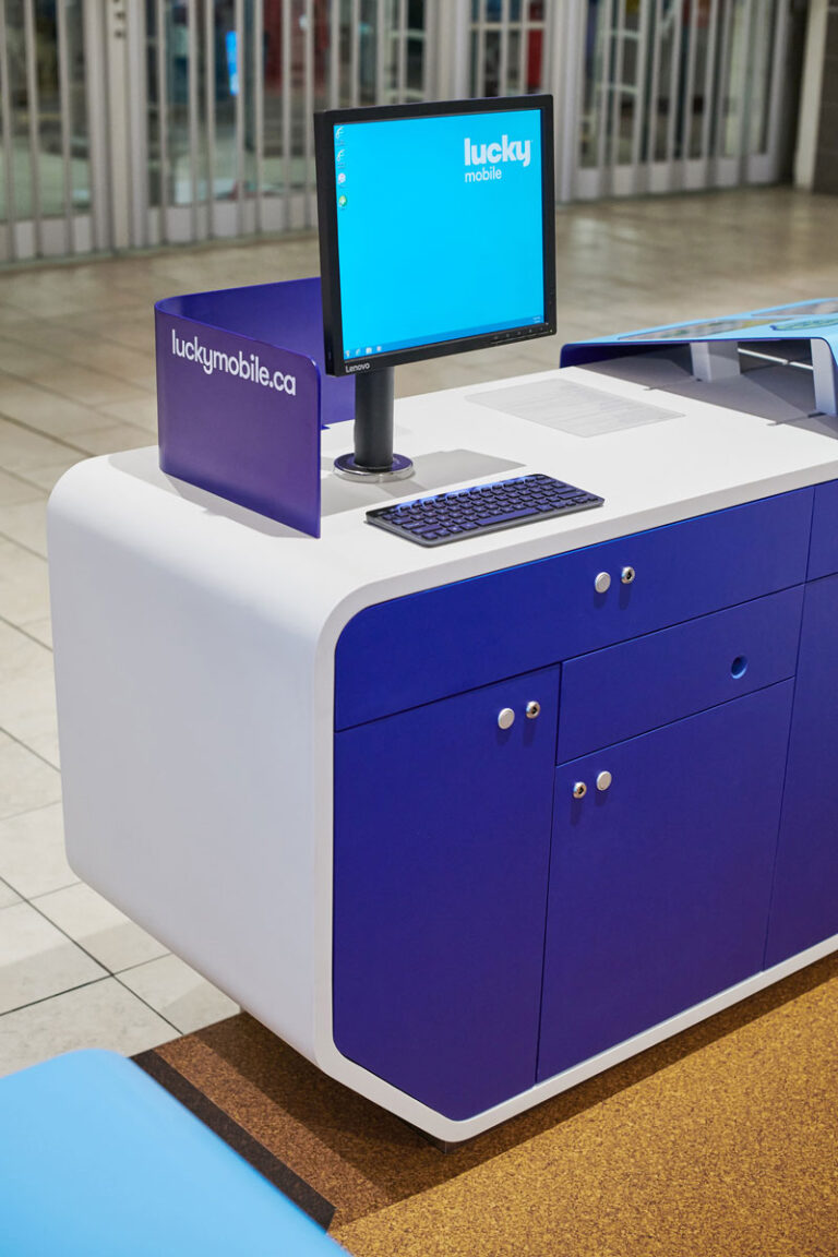 Detail of computer and storage at Lucky Mobile Kiosk.