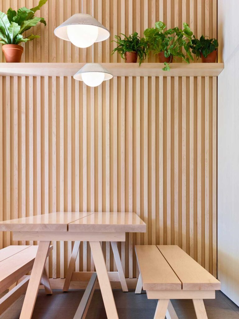 Two pendant lamps have shades made of pale natural material to exend the natual, biophilic feel of the space.