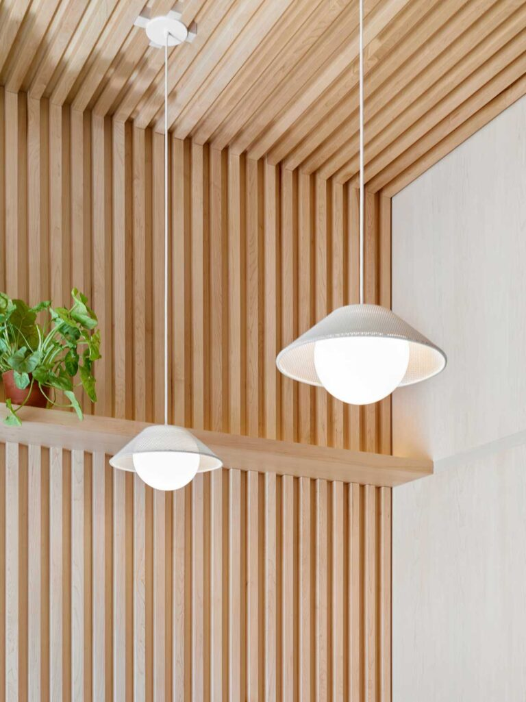 Detail of pendant lamps with pale natural shades.