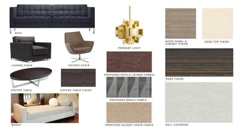 Digital sample board with proposed items for the project.