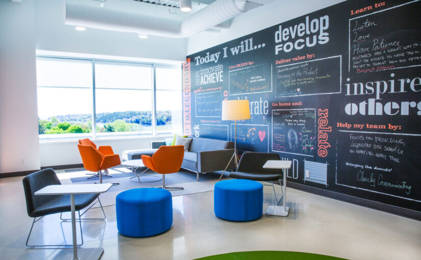 East coast cool infuses this office with casual, relaxed atmosphere
