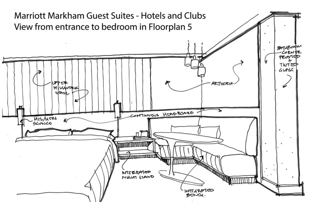 Sketch of hotel suite with details and notes.